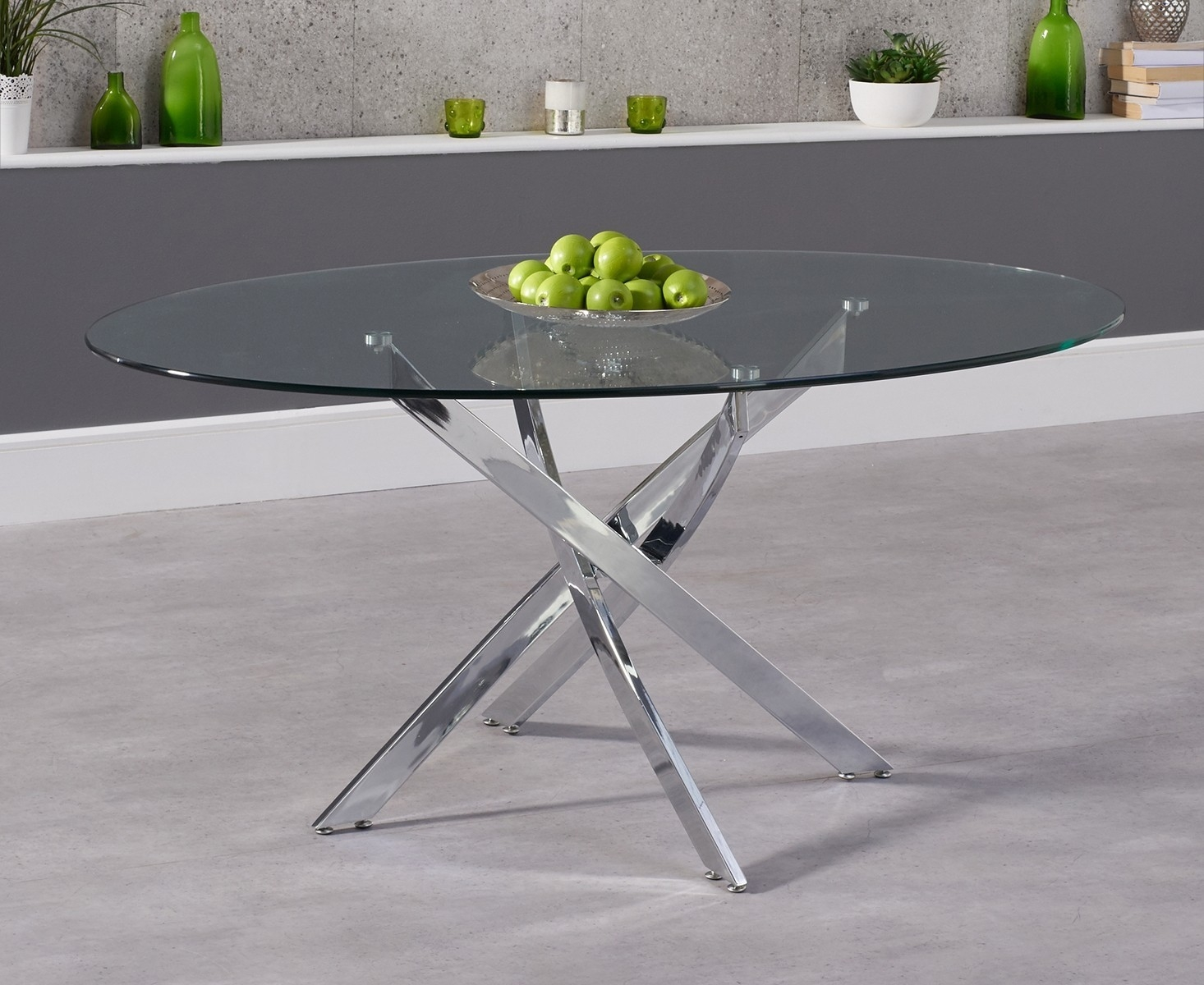 Picture of: Mark Harris Daytona Oval Dining Table Glass And Chrome Norwich Furniture