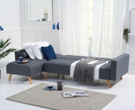 Abigail Grey Linen Left Hand Facing Chaise Sofa