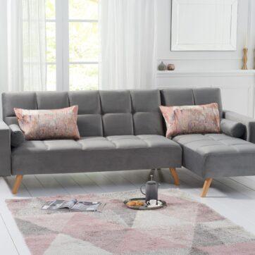 Abigail Grey Velvet Sofa